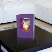Helios V de Purline, une grosse cheminée bioéthanol en acier laqué noir, équipé de deux verres thermorésistant et trempés.
