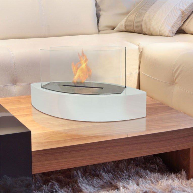 chemin e bio ethanol argos g de purline chemin e de table design et moderne de couleur blanche. Black Bedroom Furniture Sets. Home Design Ideas