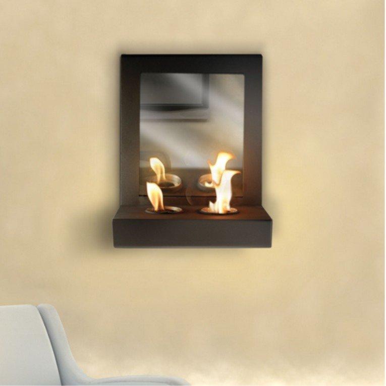 chemin e murale bio thanol mimic de purline avec miroir design in dit. Black Bedroom Furniture Sets. Home Design Ideas