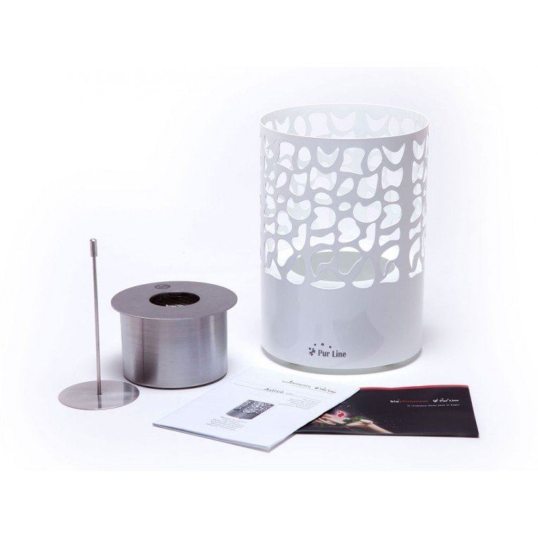Chemin e bio ethanol astrea w de purline chemin e de table design et moderne de couleur blanche - Cheminee bio ethanol de table ...