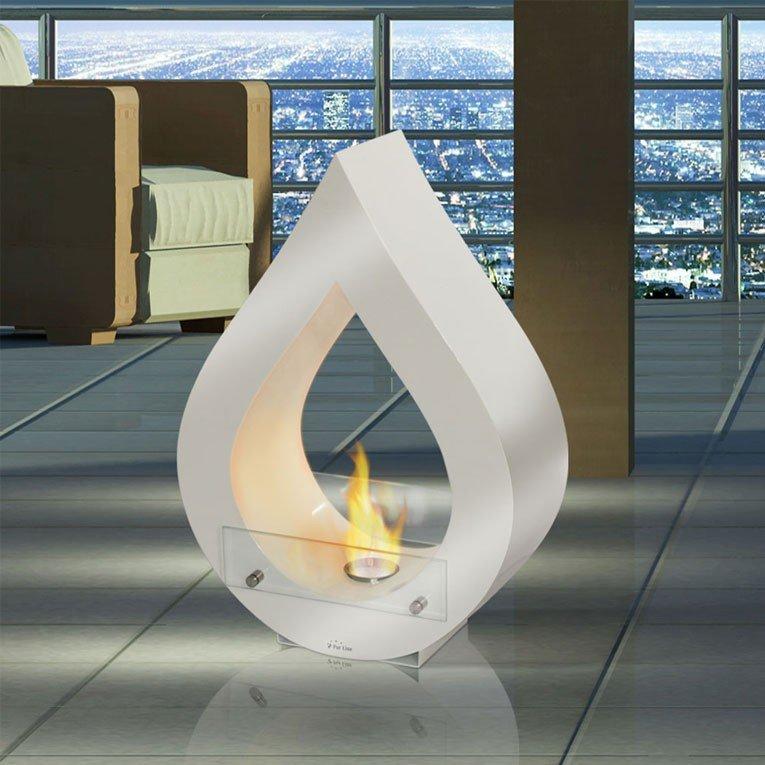 Table de salon avec ceminée bioethanol intégrée.