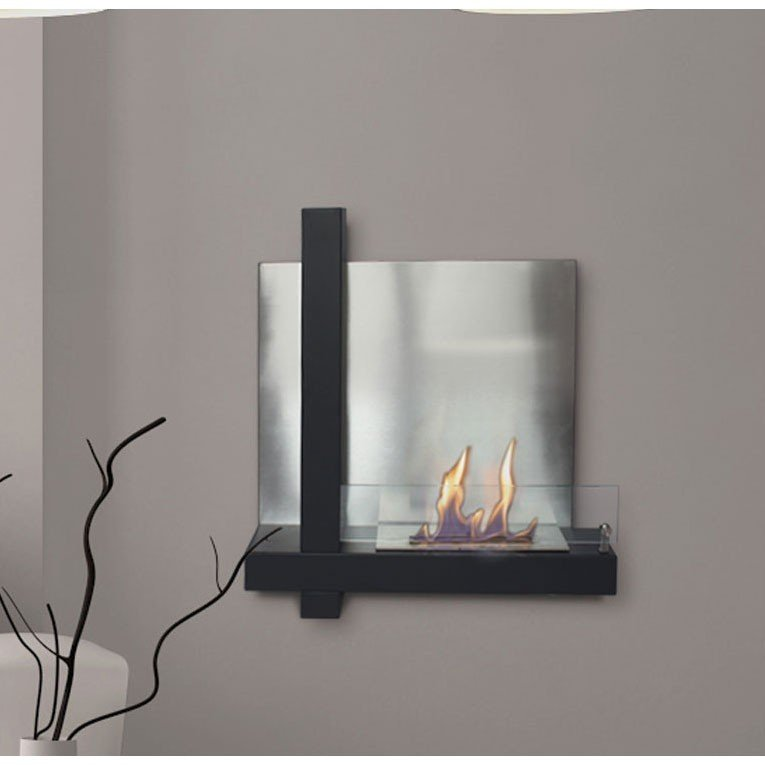 musa by purline bioethanol wall fireplace in elegant mix of stainless steel and black glass. Black Bedroom Furniture Sets. Home Design Ideas