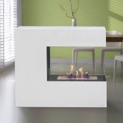 Niobe, a design floor fireplace 100 Cm long and 2.5 Kw power.
