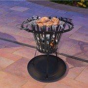 Brasero EFP2 de Purline, un brasero rond d'extérieur en acier noir, un chauffage extérieur et un barbecue écolo.