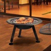 Brasero EFP4 de Purline, un brasero rond d'extérieur en acier noir, un chauffage extérieur et un barbecue écolo.