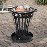 Brasero EFP6 de Purline, un brasero rond d'extérieur en acier noir, un chauffage extérieur et un barbecue écolo.