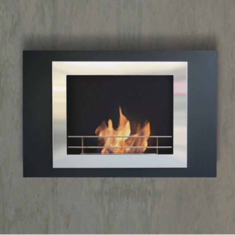 Boreas purline chimenea bioetanol de pared con doble marco de acero pulido y lacada en negro - Marco de chimenea ...