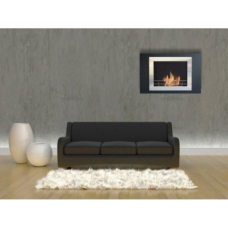 chemin e murale bio thanol boreas de purline double encadrement acier noir et inox. Black Bedroom Furniture Sets. Home Design Ideas