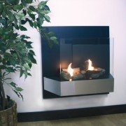 CBAF21, cheminée murale bio-éthanol Purline® avec écran de protection en verre trempé