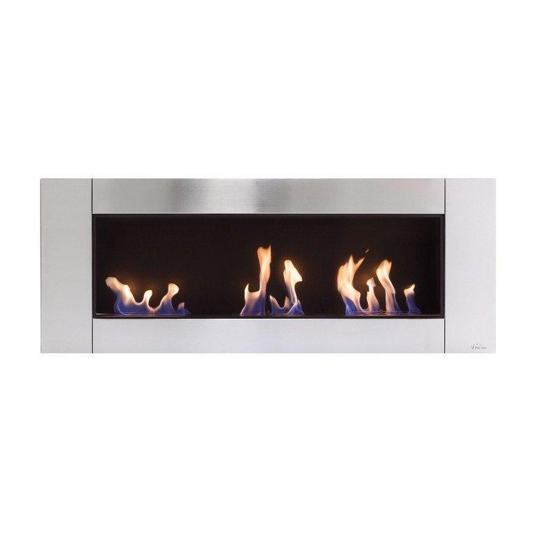 Chemin e murale zeus de purline le feu version panoramique - Galet pour cheminee bio ethanol ...