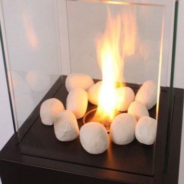 Pierres décoratives blanches pour cheminée bioéthanol