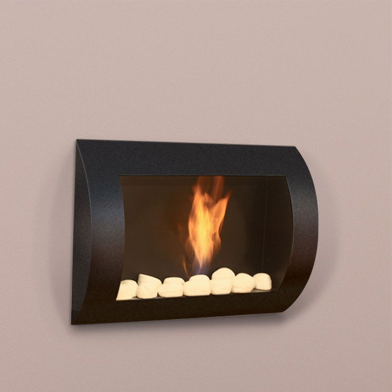 chemin e bio thanol murale laqu e noir. Black Bedroom Furniture Sets. Home Design Ideas
