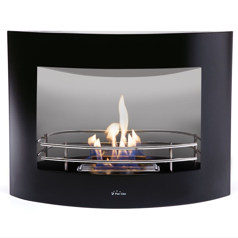 Purline ® Perseo, Wall bioethanol fireplace with brushed steel mirror ...