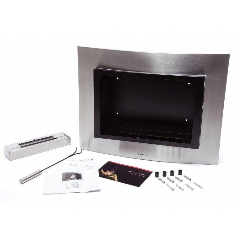 chemin e bio thanol murale inox et noir moderne. Black Bedroom Furniture Sets. Home Design Ideas