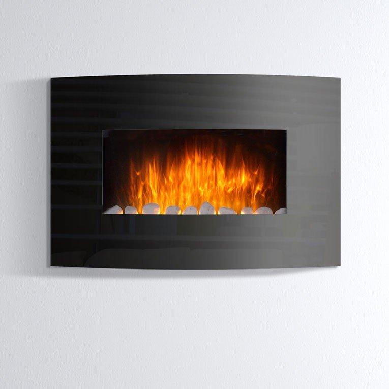 Che 440 chimenea decorativa cristal curvado negro - Cristal vitroceramico chimenea ...