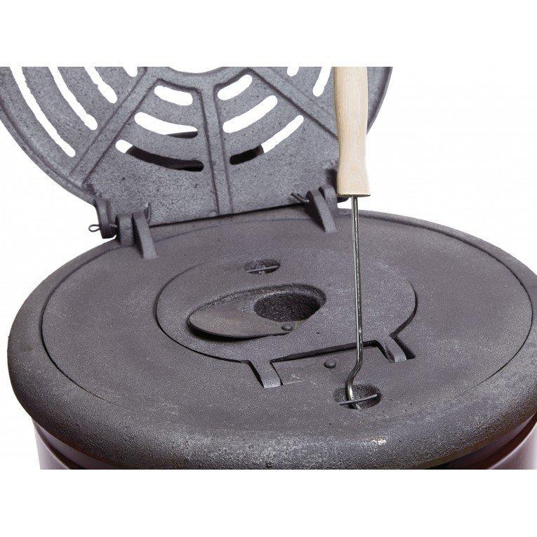 po le bois ou charbon eco cook de purline 6 kw rond en fonte et acier maill. Black Bedroom Furniture Sets. Home Design Ideas