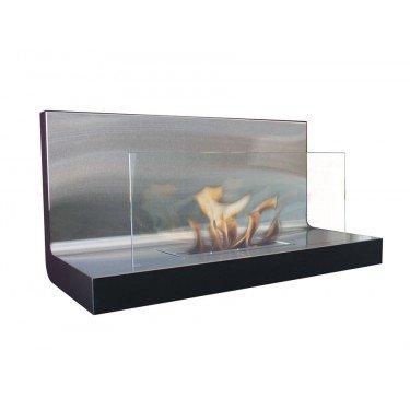 Cheminée bioethanol mural verre et inox medusa Purline