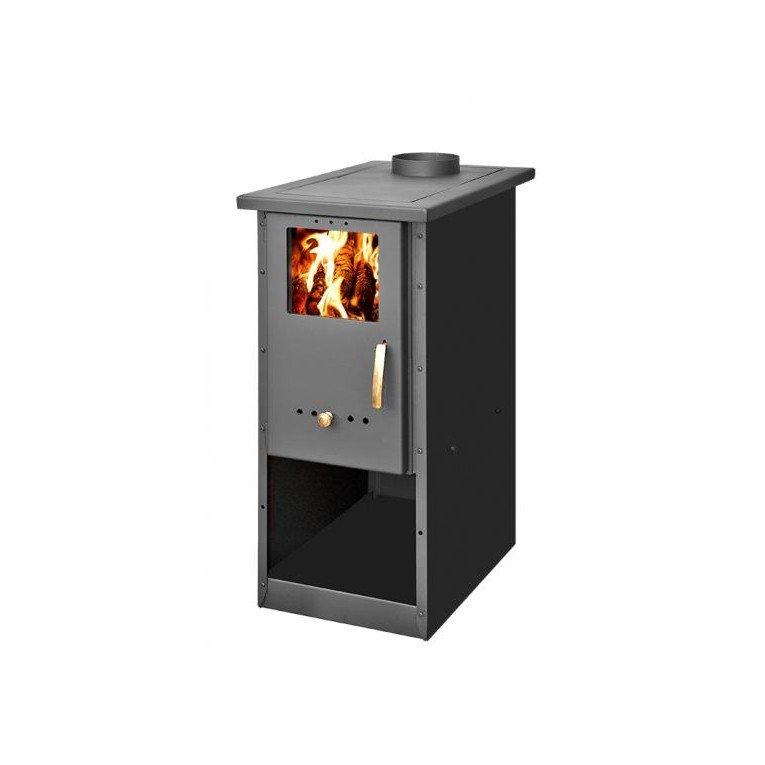 po le bois 6 kw fonte et acier maill avec support. Black Bedroom Furniture Sets. Home Design Ideas