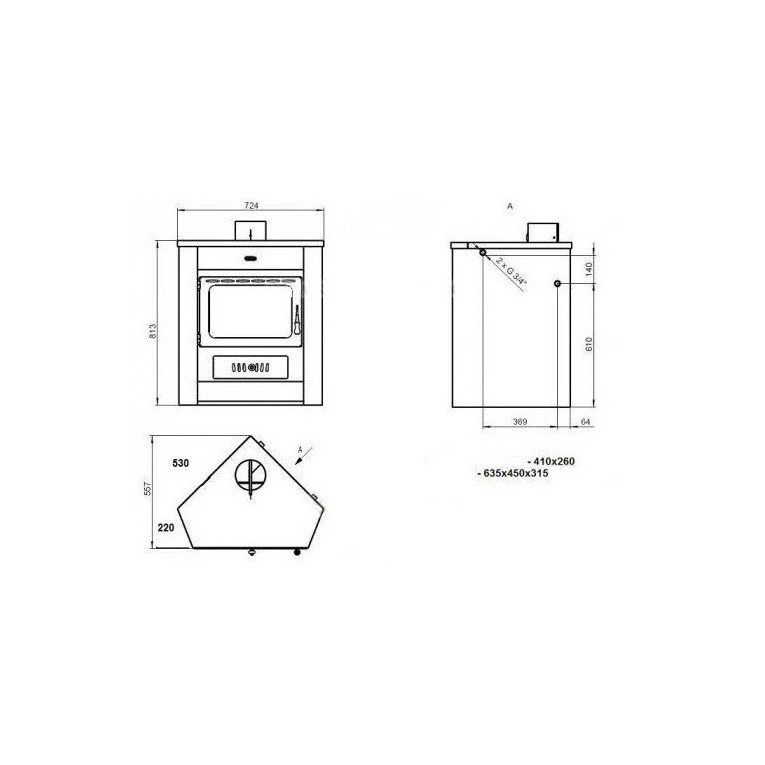 Corner Wood stove, boiler for angle, 18 kW, simple and powerful ...