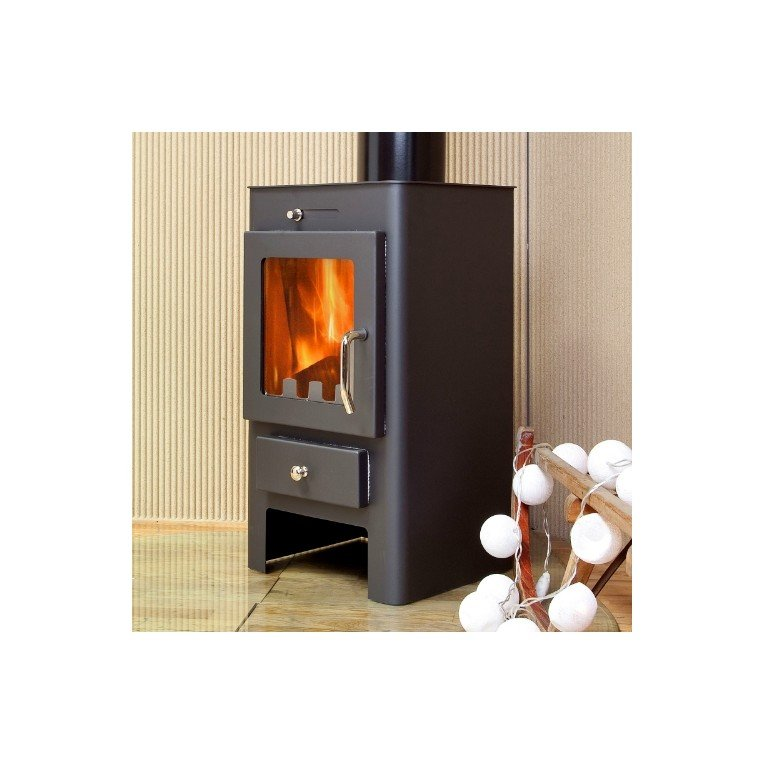 wood burning stove and chimney