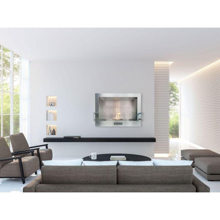 chemin e murale bio thanol demeterde purline avec fa ade amovible. Black Bedroom Furniture Sets. Home Design Ideas
