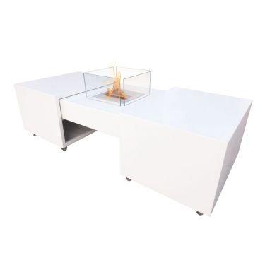 Une table de salon équipée d'une cheminée bio-éthanol escamotable une belle surprise.