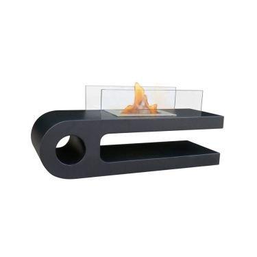 Une table de salon design noire équipée d'une cheminée bio-éthanol, une décoration moderne