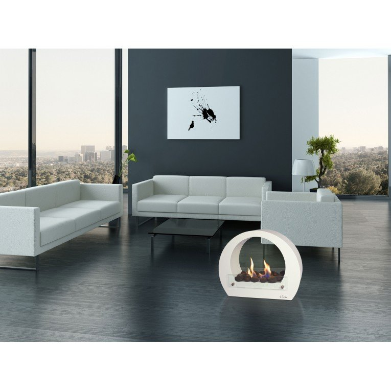 chemin e de sol saturn blanche une chemin e design moderne et puissante. Black Bedroom Furniture Sets. Home Design Ideas