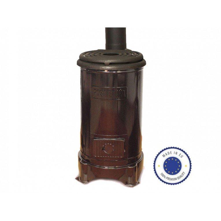 po u00ealeà bois ou charbon Eco Cook de Purline, 6 kw rond, en fonte et acierémaillé # Poele A Bois Cylindrique
