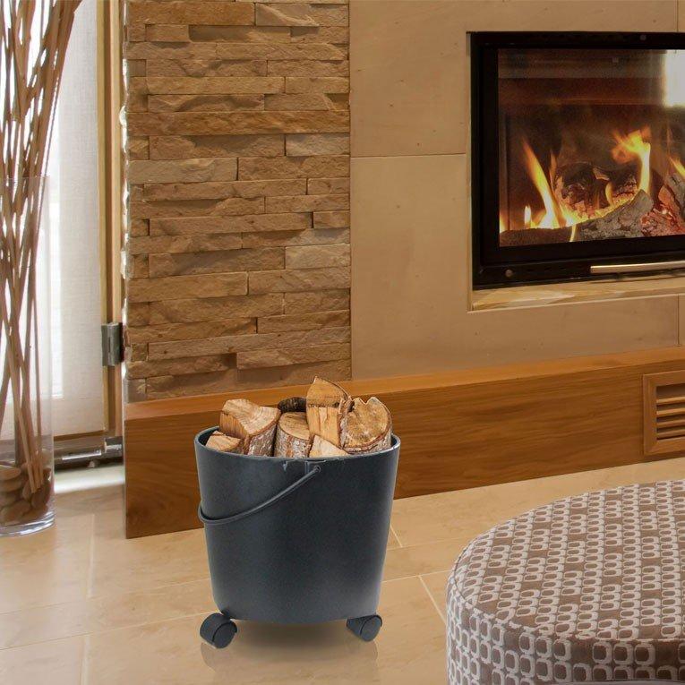 panier de transport de bois type sceau. Black Bedroom Furniture Sets. Home Design Ideas