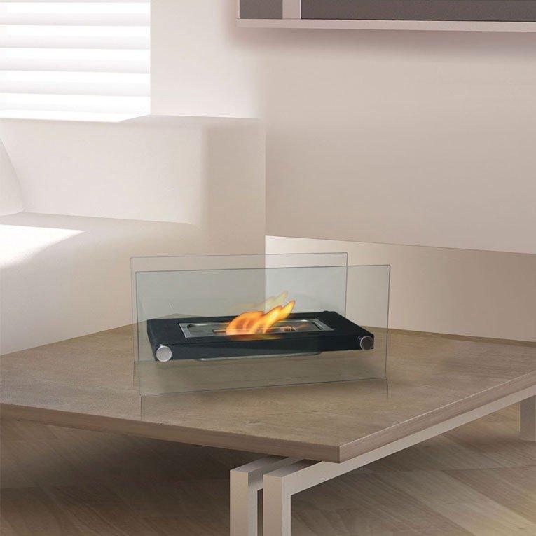 Cheminée bio éthanol de table ultra design blanche