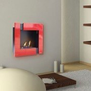 Ariadna Red and Black, a modern wall bio ethanol fireplace.