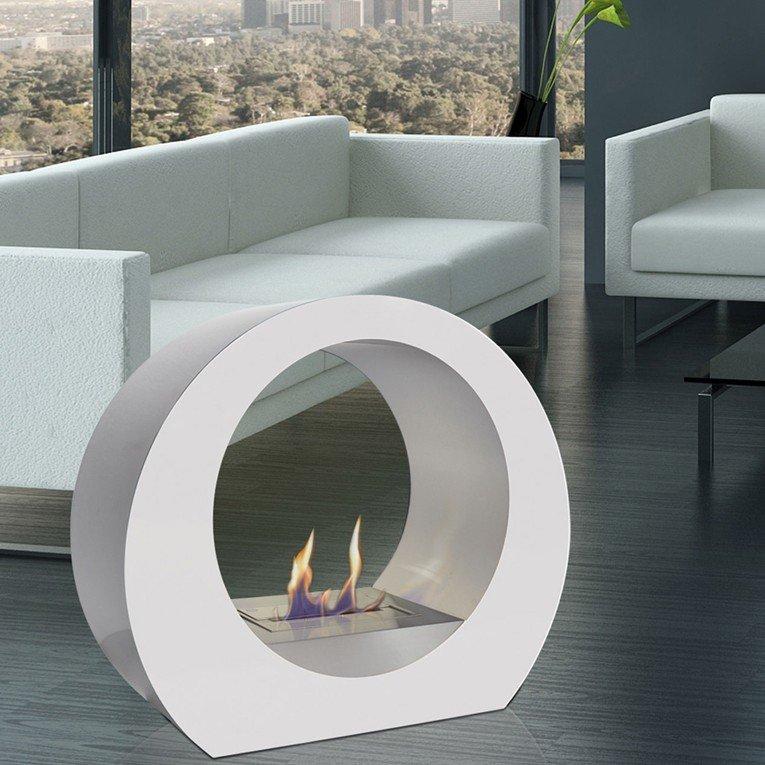 Cheminée de sol dione w blanche, une cheminée design moderne et ...