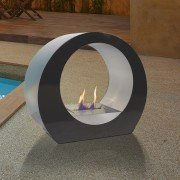 Dione B is a superb fireplace bio ethanol, black, stainless steel , ultra design ,ground