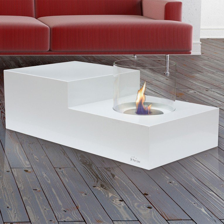 Foyer De Table éthanol Québec : Table de salon avec ceminée bioethanol intégrée