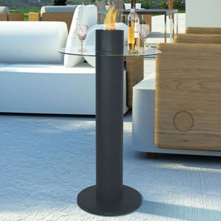 Table de bar avec chemin e bio thanol int gr e - Cheminee bio ethanol de table ...