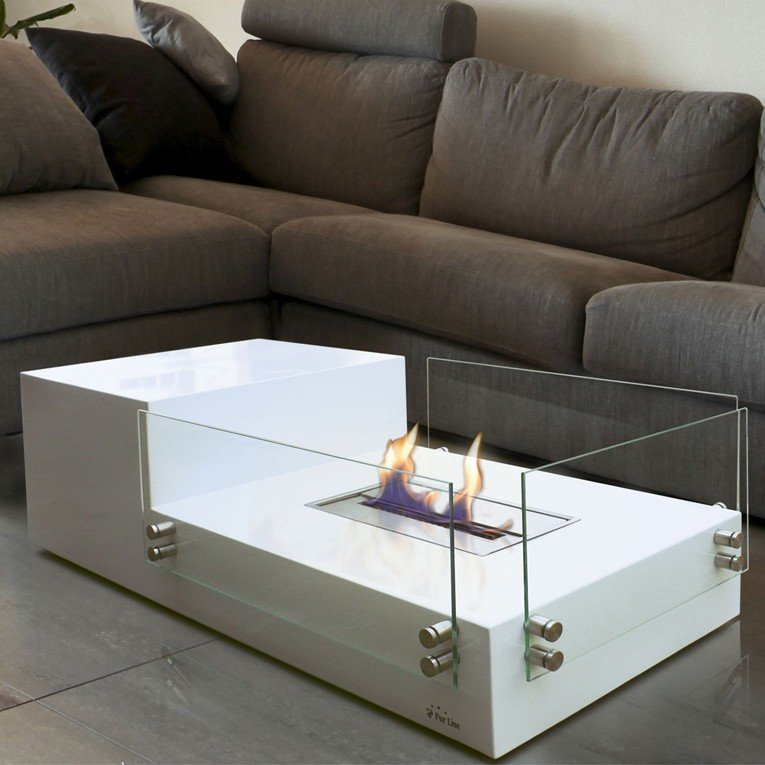 table de salon avec cemin e bioethanol int gr e. Black Bedroom Furniture Sets. Home Design Ideas