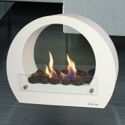 Saturn white edition is an ultra design floor fireplace for indoor and outdoor use