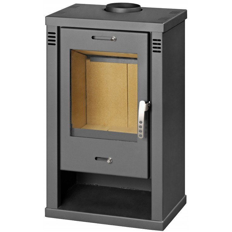 po le bois 6 kw fonte et acier maill avec support chauffe plats biochemin e. Black Bedroom Furniture Sets. Home Design Ideas